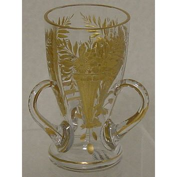 999557 Crystal Glass 3 Handles, 3 Engraved Flowers In Vases Filled With Gold, Gold Line On Rim & Base & Handles