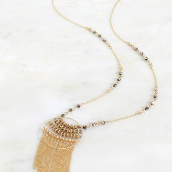 Circle Fringe Pendant Necklace