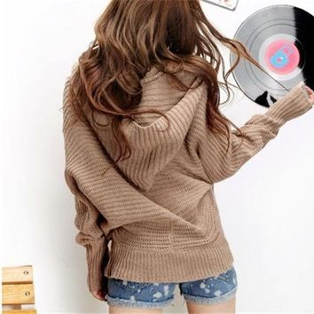 Women Girls Lovely Winter Pure Color Hoodie Sweater Coat V Neck Pullover = 1920398148