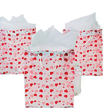 Clear Valentine Gift Bags with Handles