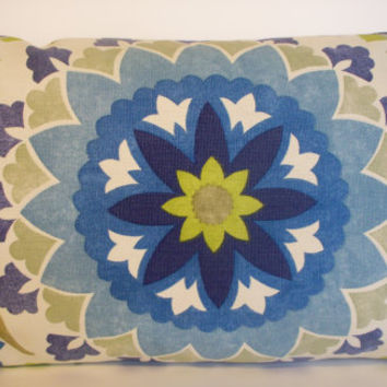 Decorative Pillow Cover Suzani Blue Citrine Periwinkle 14X24 Lumbar