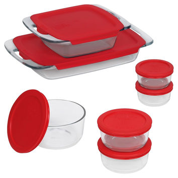 Pyrex 14 Piece Easy Grab Glass Bakeware and Food Storage Set Clear 14 pc set
