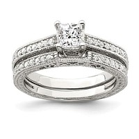 Sterling Silver Princess Cut 2-Piece CZ Wedding Set Ring