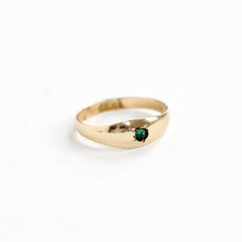 Vintage Simulated Emerald 10K Yellow Gold Baby Ring - Vintage 1920s OB Ostby & Barton Art Deco Size 1/3 Midi Fine Green Glass Pinky Jewelry