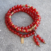 Stability, 108 bead mala red carnelian wrap bracelet or necklace