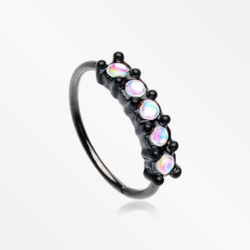 Blackline Iridescent Revo Multi Sparkles Princess Prong Bendable Hoop Ring