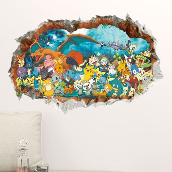 3D Game Pokemon Go Children Wall Sticker Decals DIY Removable Pocket Monster For Kids Baby Nursery Bedroom Decor Poster