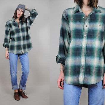 FADED vtg 90's Plaid FLANNEL GRUNGE boyfriend shirt Raglan soft Oversized Lumberjack • Large