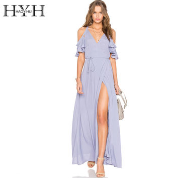 Solid Blue Women Dress Deep V-Neck Side Split Cold Shoulder Elegant Vestidos Butterfly Sleeve Sexy Maxi Dress