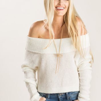 Carmen Ivory Cropped Off the Shoulder Sweater