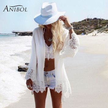 Anibol 2017 Summer Beach Wear Bikini Cover Ups Flare Sleeve Lace Edge Sun-protective Clothing White Chiffon Beach Dress Kaftan