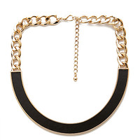 FOREVER 21 Faux Leather Crescent Necklace Black/Gold One