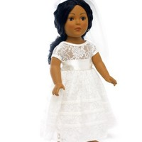 "18 Inch Doll Bridal Gown | Communion Dress or Wedding | Fits 18"" American Girl Dolls Clothes"