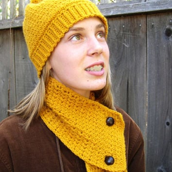 Mustard scarf with vintage style brown leather button, Winter Fashion 2013, handknit yellow scarf