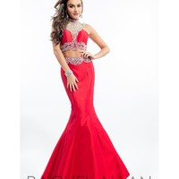 Rachel Allan 7145 Red Two Piece Mermaid Long Gown 2016 Prom Dresses