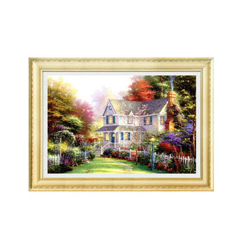 5D Diamond Painting Full-jewelled Cross Stitch Living Room Oil Small House Dreamlike House Painting Diamond Paste