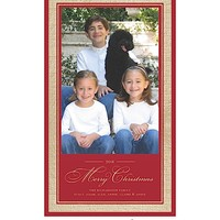 Vintage Wrap Burlap Border - Red - Flat Holiday Photo Card