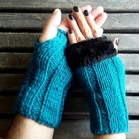 Bondi Blue, Men &  Women Gloves, Women Gloves, Man Gloves, Valentines Gift, 2 Double-Gloves
