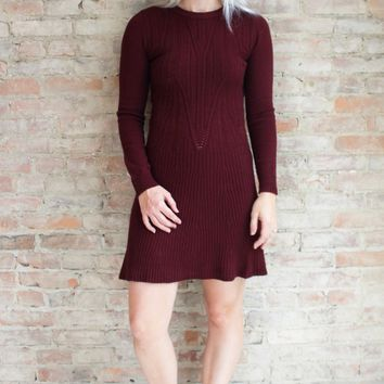 Rea Knit Sweater Dress - burgundy