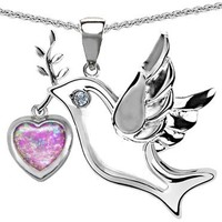 Star K Peace Love Dove Pendant 7mm Heart-Shape Simulated Pink Opal