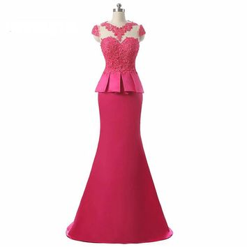 2 Pieces Prom Dress Long Mermaid with Beading Appliques Luxury Elegant Evening Gown