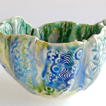 Decorative Ceramic bowl,  lace bowl, peacock bowl, for home decor