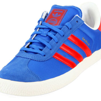 Adidas D67211:Originals Gazelle II Jr BLUE/Red Sneaker for Grade-School Big-Kids