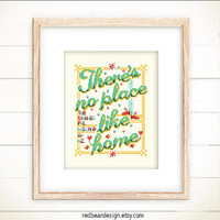Wizard Quote Cross stitch pattern PDF - There's No Place Like Home -Xstitch Instant download - Modern Funny Home Sweet Home Typographic Deco