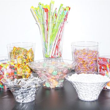 11 pc Plastic Candy Buffet Jars. Candy Table Buffet Kit. Great For Weddings and Parties!