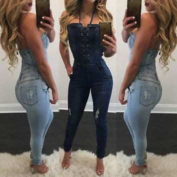 ESB1ON 2017 New Women Denim Jeans BIB Pants Overalls Straps Jumpsuit Rompers Trousers