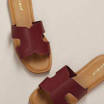 Wide Band H Cut Out Slide Sandals