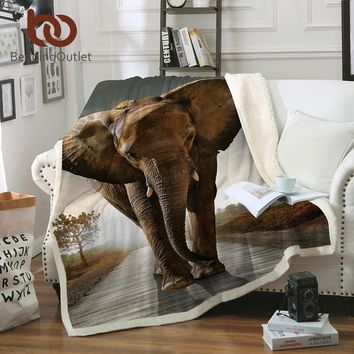 BeddingOutlet 3d Elephant Throw Blanket Indian Bedclothes Sherpa Fleece Plush Blanket for Beds Animal cobertor para inverno