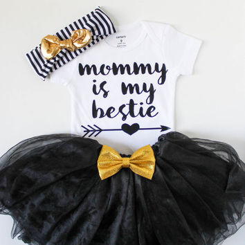 baby girl clothes - mommy and me - baby girl outfit - toddler girl clothes - toddler shirt - baby shirt - bestie shirt - baby headband