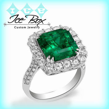 Natural Emerald  Engagement Ring -  8mm 3.4ct  Square Emerald Cut Emerald set in an 18k White Gold Diamond Halo Setting
