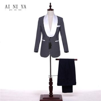 Jacket+Pants Formal Women Business Suits 2 Piece Set Blazer White Satin Lapel Dot Pattern Office Ladies Work Uniform Female Suit
