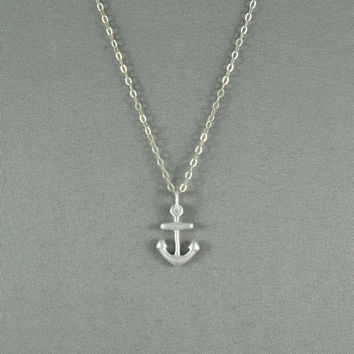 Tiny Anchor Necklace, 925 Sterling Silver, Modern, Simple, Delicate, Everyday Wear Necklace