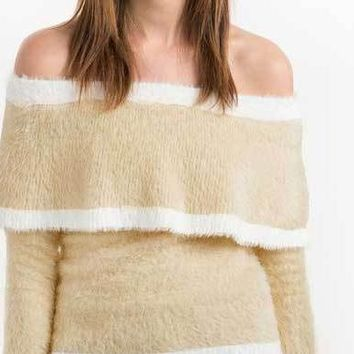 Autumn Women's Fuzzy Striped Off Shoulder Sweater Sweet Beige Long Sleeve Jumper Fashion Elegant Pullover Tops