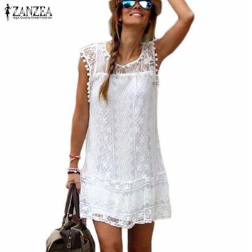 Women Casual Sleeveless Beach Short Dress