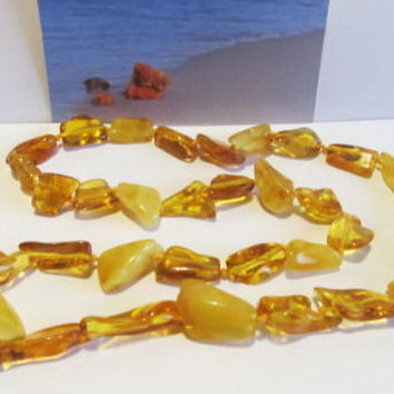 100% Natural #Antique #Baltic #Amber #Necklace, 21.0 grams  #yellow polished transparent beads for adult
