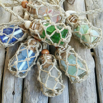 SEA GLASS Hemp Rear View Mirror Charm, Aqua, Blue, Clear, Periwinkle, Bi Color, Green, car accessory, beach, nautical, ocean