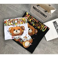Moshion Black White Top Colored lights cute bear Christmas limited edition store lights bear T-shirt