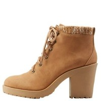 Camel Sweater-Cuffed Chunky Heel Combat Booties by Charlotte Russe