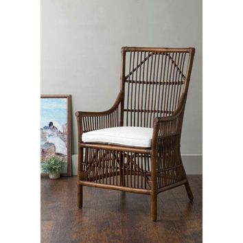 East At Main Walton Brown Square Rattan Accent Chair Walton 105 | Bellacor