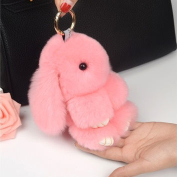 New Rex Rabbit Fur Keychain Cute Mini Fluffy Rabbit Doll Real Fur Pom Pom Key Chains Pompon Keyring for Women Bag Charm Pendant Gift [9145128838]