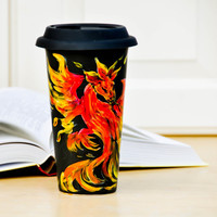 Fire Dragon Travel Mug - Dungeons and Dragons inspired Eco cup - Black Red Yellow Hand Painted Coffee Mug with Lid - Gift for him