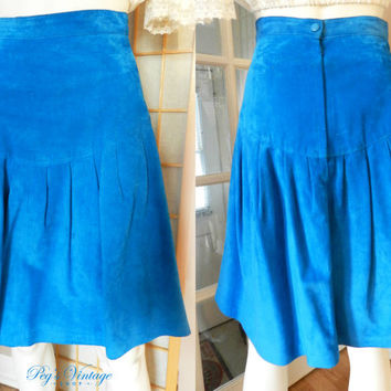Vintage Turquoise Cobalt Blue Suede Leather Flare Skirt/Designer Danier Genuine Leather Clothing, Size 4 XS