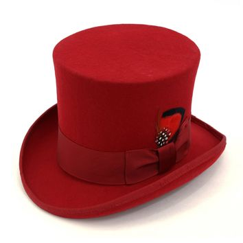Premium Red Wool Top Hat