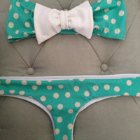 Tiffany blue poke-a-dot Bow bikini