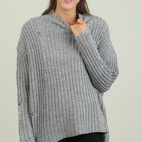 Grey Long Sleeve Turtleneck Sweater (final sale)