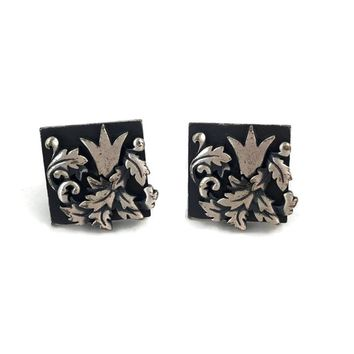 Swank Cufflinks Leaves and Crown, Black Silver Tone Cuff Links, Grooms Man Gift, Mens Gift Ideas, Wedding Groom Cufflinks, Mens Jewelry